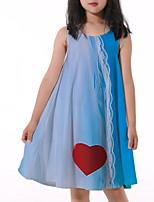 cheap -Kids Little Girls' Dress Graphic Print Blue Knee-length Sleeveless Flower Active Dresses Summer Regular Fit 5-12 Years