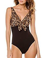 cheap -karla colletto women's bree leopard knot front one piece swimsuit black/multi 8