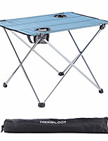 cheap -Camping Table with Cup Holder Portable Ultra Light (UL) Foldable Washable Aluminum Alloy Polyester for 3 - 4 person Camping Outdoor Picnic Blue+Silver