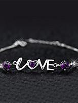 cheap -Women's Bracelet Pendant Bracelet Geometrical Heart Fashion Copper Bracelet Jewelry Purple / White For Christmas Party Wedding Daily Work / Silver Plated
