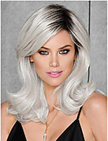 cheap -short grey wig ombre silver gray natural wavy synthetic wig for women 18'' hair replacement wig daily party wig