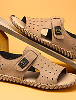 cheap -Men's Sandals Casual Beach Daily Water Shoes Upstream Shoes Nappa Leather Breathable Non-slipping Wear Proof Camel Black Khaki Summer