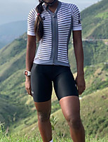 cheap -Women's Men's Short Sleeve Triathlon Tri Suit Summer White Stripes Bike Quick Dry Breathable Sports Stripes Mountain Bike MTB Road Bike Cycling Clothing Apparel / Stretchy / Athletic