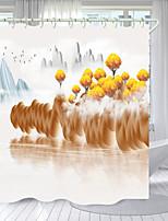 cheap -Golden Tree Digital Printing Shower Curtain Shower Curtains Hooks Modern Polyester New Design