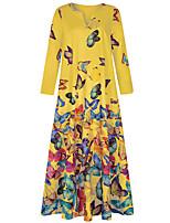 cheap -Women's Swing Dress Maxi long Dress White Yellow Blushing Pink Light Blue Long Sleeve Animal Spring Summer Casual 2021 S M L XL XXL 3XL 4XL 5XL