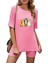 cheap -Women's Basic Streetwear Cat Animal Vacation Casual / Daily Two Piece Set Tracksuit T shirt Loungewear Biker Shorts Print Tops