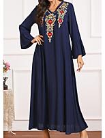 cheap -Women's Kaftan Dress Maxi long Dress Blue Long Sleeve Print Embroidered Summer Round Neck Casual 2021 M L XL XXL