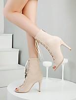 cheap -Women's Boots Stiletto Heel Peep Toe PU Synthetics Almond Black
