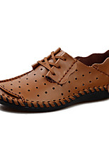cheap -Men's Loafers & Slip-Ons Daily Outdoor Walking Shoes Leather Breathable Light Brown Dark Brown Gray Spring Summer