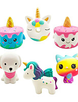 cheap -6PCS Unicorn Squishies Toy Set Jumbo Cake Unicorn Donut Dog Ice Cream Cat Kawaii Slow Rising Squishy Toys for Kids Party Favors