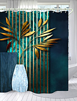 cheap -Bottled Leaves Digital Printing Shower Curtain Shower Curtains Hooks Modern Polyester New Design