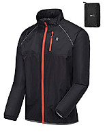 cheap -men's waterproof cycling bike jacket, running golf rain jacket, windbreaker, ultralight and packable black l