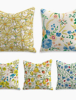 cheap -Summer Fruit Flower Cushion Cover 5PC Linen Soft Throw Pillow Cover Cushion Case Pillowcase for Bedroom 45 x 45 cm (18 x 18 Inch) Machine Washable Double Side Outdoor Cushion for Sofa Couch Bed Chair