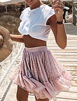 cheap -Women's Date Casual / Daily Casual Streetwear Skirts Polka Dot Leopard Tassel Fringe Drawstring Ruffle Blushing Pink / Loose / Print