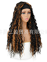 cheap -european and american wigs and hair bands, african long turban, velcro small curly wigs, black and brown two-color chemical fiber hair