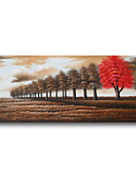 cheap -Stretched Oil Painting Hand Painted Canvas Abstract Comtemporary Modern High Quality Trees Forest Brown Ready to Hang