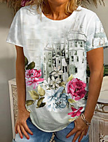 cheap -Women's T shirt Floral Graphic Print Round Neck Tops Basic Basic Top White
