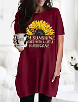 cheap -Women's T shirt Dress Graphic Flower Round Neck Tops Basic Basic Top Black Wine Army Green