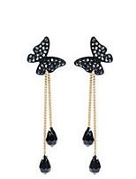 cheap -Butterfly Drop Earrings Tassel Fringe Animal Stylish Sweet Imitation Diamond Earrings Jewelry Silver For Date Festival 1 Pair