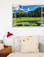 cheap -3D False Window New Wall Paste Mountain Green Grass Lake Home Corridor Background Decoration Can Be Removed Stickers