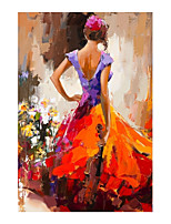 cheap -IARTS Hand Painted Gorgeous girl Oil Painting with Stretched Frame For Home Decoration