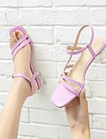 cheap -Women's Sandals Chunky Heel Open Toe PU Buckle Solid Colored Light Green Light Purple Beige