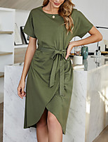 cheap -Women's Sheath Dress Knee Length Dress Army Green Short Sleeve Solid Color Lace up Patchwork Fall Summer V Neck Elegant Casual 2021 S M L XL