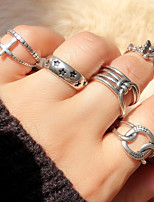 cheap -Ring Geometrical Silver Alloy Cross Mini Star Luxury Ethnic Vintage 4pcs Adjustable / Couple's / Open Cuff Ring / Adjustable Ring