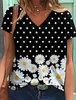 cheap -Women's Daisy T shirt Floral Polka Dot Graphic Print V Neck Basic Tops Black