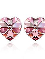 cheap -Women's Stud Earrings Geometrical Sweet Heart Simple Korean Earrings Jewelry Pink For Party Wedding 1 Pair