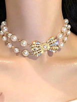 cheap -Women's Choker Necklace Bow Bowknot Fashion Modern Sweet Imitation Pearl Imitation Diamond Alloy Gold 32+14 cm Necklace Jewelry 1pc For Birthday Party Festival