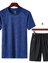 cheap -Men's T shirt Hiking Tee shirt with Shorts Short Sleeve Pants / Trousers Bottoms Clothing Suit Outdoor Quick Dry Lightweight Breathable Sweat wicking Autumn / Fall Spring Summer 8912 Cailan 8858 8912