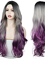 cheap -Long Gray purple Golden Ombre Synthetic Wigs Natural Part Side Wavy Heat Resistant Hair Cosplay Daily Wig for White Black Women