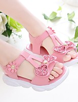 cheap -Girls' Sandals Comfort Flower Girl Shoes Princess Shoes Rubber PU Little Kids(4-7ys) Big Kids(7years +) Daily Home Walking Shoes White Pink Spring Summer