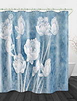 cheap -Lotus Print Waterproof Fabric Shower Curtain for Bathroom Home Decor Covered Bathtub Curtains Liner Includes with Hooks