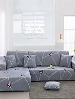 cheap -Grey Stripes Print Dustproof All-powerful Slipcovers Stretch L Shape Sofa Cover Super Soft Fabric Couch Cover Sofa Furniture Protector With One Free Boster Case
