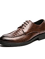 cheap -Men's Oxfords Vintage Daily Party & Evening Walking Shoes PU Breathable Black Brown Spring Summer
