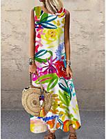 cheap -Women's Shift Dress Maxi long Dress Rainbow Sleeveless Floral Print Print Spring Summer Round Neck Casual 2021 S M L XL XXL 3XL