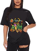 cheap -Women's T shirt Graphic Graffiti Print Round Neck Tops 100% Cotton Basic Basic Top White Black