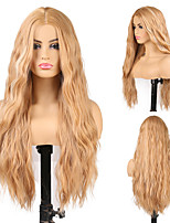 cheap -Synthetic Wig Wavy Body Wave Middle Part Wig 24 inch Light Blonde Synthetic Hair Women's Odor Free Fashionable Design Soft Blonde