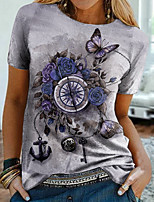 cheap -Women's Floral Theme Painting T shirt Floral Graphic Print Round Neck Basic Tops Purple Red
