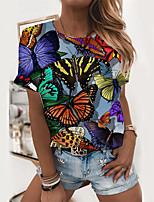 cheap -Women's T shirt Graphic Butterfly Print Round Neck Tops Basic Basic Top Blushing Pink Green Rainbow