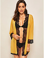 cheap -Women's Layered Lace Hole Sexy Lingerie Nightwear Solid Colored Embroidered Bra Yellow XS S M