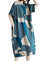cheap -kmazn women casual cotton loose geometric print dress baggy crew neck summer beach plaid abstract dresses style a32, one_size