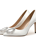 cheap -Women's Wedding Shoes Stiletto Heel Pointed Toe Wedding Pumps Satin Rhinestone Sparkling Glitter Solid Colored White Black Red