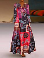 cheap -Women's Swing Dress Maxi long Dress Red Orange Long Sleeve Color Block Spring Summer Boho 2021 S M L XL XXL 3XL 4XL 5XL