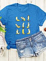 cheap -Women's T shirt Graphic Fruit Print Round Neck Tops Basic Basic Top Black Blue Blushing Pink