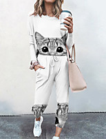 cheap -Women's Streetwear Cinched Cat Going out Casual / Daily Two Piece Set Sweatshirt Tracksuit Pant Loungewear Drawstring Print Tops