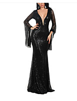 cheap -Mermaid / Trumpet Sparkle Sexy Wedding Guest Formal Evening Dress V Neck Long Sleeve Sweep / Brush Train Spandex with Sequin 2021