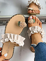 cheap -Women's Sandals Flat Heel Round Toe PU Black Yellow Beige